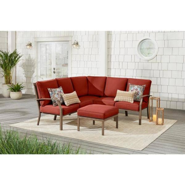 Hampton Bay Geneva 6 Piece Brown Wicker Outdoor Patio Sectional Sofa Seating Set With Ottoman And Sunbrella Henna Red Cushions Frs60704a Sthen The Home Depot