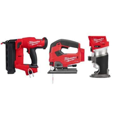 M18 FUEL 18-Volt Lithium-Ion Brushless Gen II 18-Gauge Cordless Brad Nailer/Jig SawithRouter Combo Kit (3-Tool)