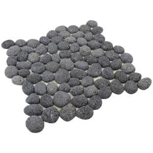 Black Lava 12 in. x 12 in. Natural Pebble Stone Floor and Wall Tile (5.0 sq. ft./Case)