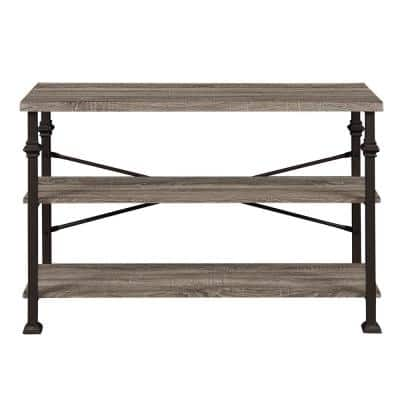 Sturdy 30 in. Grey Oak Industrial Rustic Style 3-Shelves Standard Bookcase for Living Room and Hallway