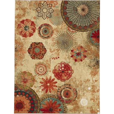 Alexa Medallion Brown 5 ft. x 8 ft. Indoor/Outdoor Printed Patio Area Rug