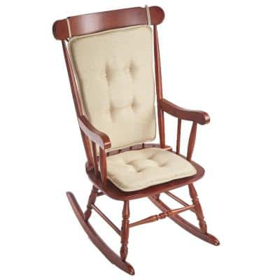 Klear Vu Embrace Natural Tufted Rocking Chair Cushion Set with Gripper Back and Ties