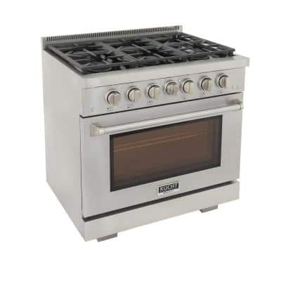 Professional 36 in. 5.2 cu.ft. Natural Gas Range with Two 21K Power Burners and Convection Oven in Stainless Steel