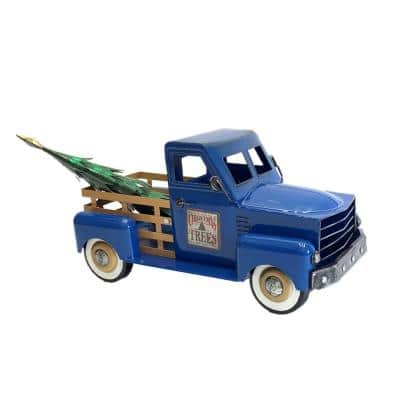 10 in. Tall Small Iron Blue Truck with Christmas Tree