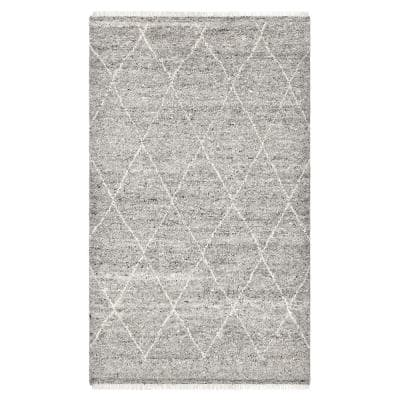 Shaggy Moroccan Bohemian Shaggy Moroccan Light Gray 8 ft. x 10 ft. Hand-Knotted Area Rug