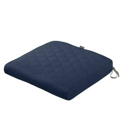 Montlake FadeSafe 21 in. W x 19 in. D x 3 in. Thick Navy Rectangular Outdoor Quilted Dining Seat Cushion