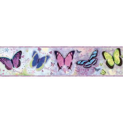Kingston Purple Bff Butterflies Toss Purple Wallpaper Border
