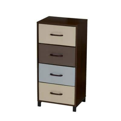 4-Drawer Walnut Laminate Finish Chest with Multicolor Drawers 16 in. W x 33.25 in. H x 12 in. D
