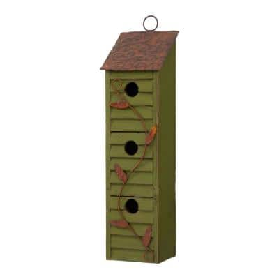18 in. H Green Window-Blinds Distressed Solid Wood Birdhouse