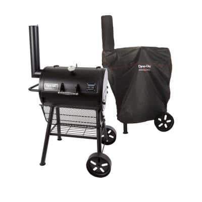 Signature Heavy-Duty Compact Barrel Charcoal Grill in Black with Cover