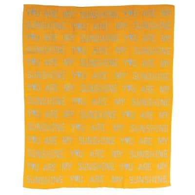 Mustard Yellow Cotton Knit You are My Sunshine Baby Blanket