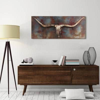 """48 in. x 20 in. """"Long Horn"""" Mixed Media Iron Hand Painted Dimensional Wall Art"""