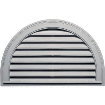 34.188 in. x 22.128 in. Half Round Gray Plastic Built-in Screen Gable Louver Vent