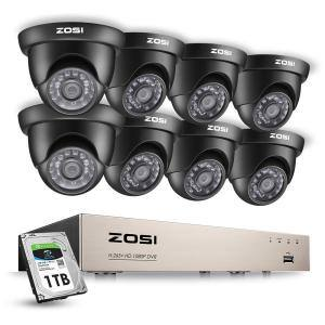 8-Channel 1080p 1TB Hard Drive DVR Security Camera System with 8-Wired Black Dome Cameras