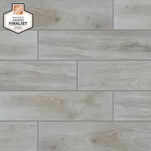 QuicTile 6 in. x 24 in. Perspective Grey Glazed Porcelain Locking Floor Tile (10.2 sq. ft. / case)