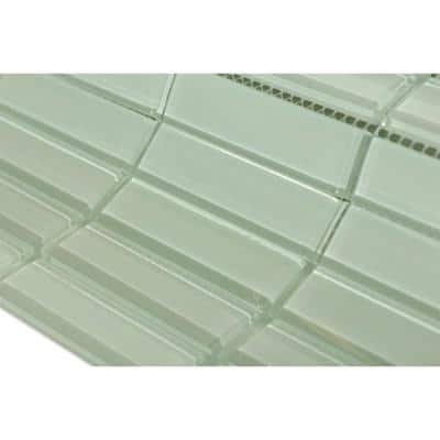 Contempo Seafoam Brick 12 in. x 12 in. Glass Floor and Wall Tile