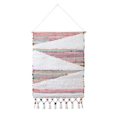 25.5 in. x 51 in. Multi-Colored Boho Chindi Global Inspiration Woven Wall Hanging