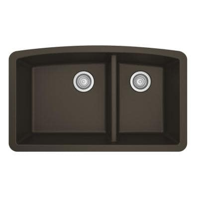Undermount Quartz Composite 32 in. 60/40 Double Bowl Kitchen Sink in Brown