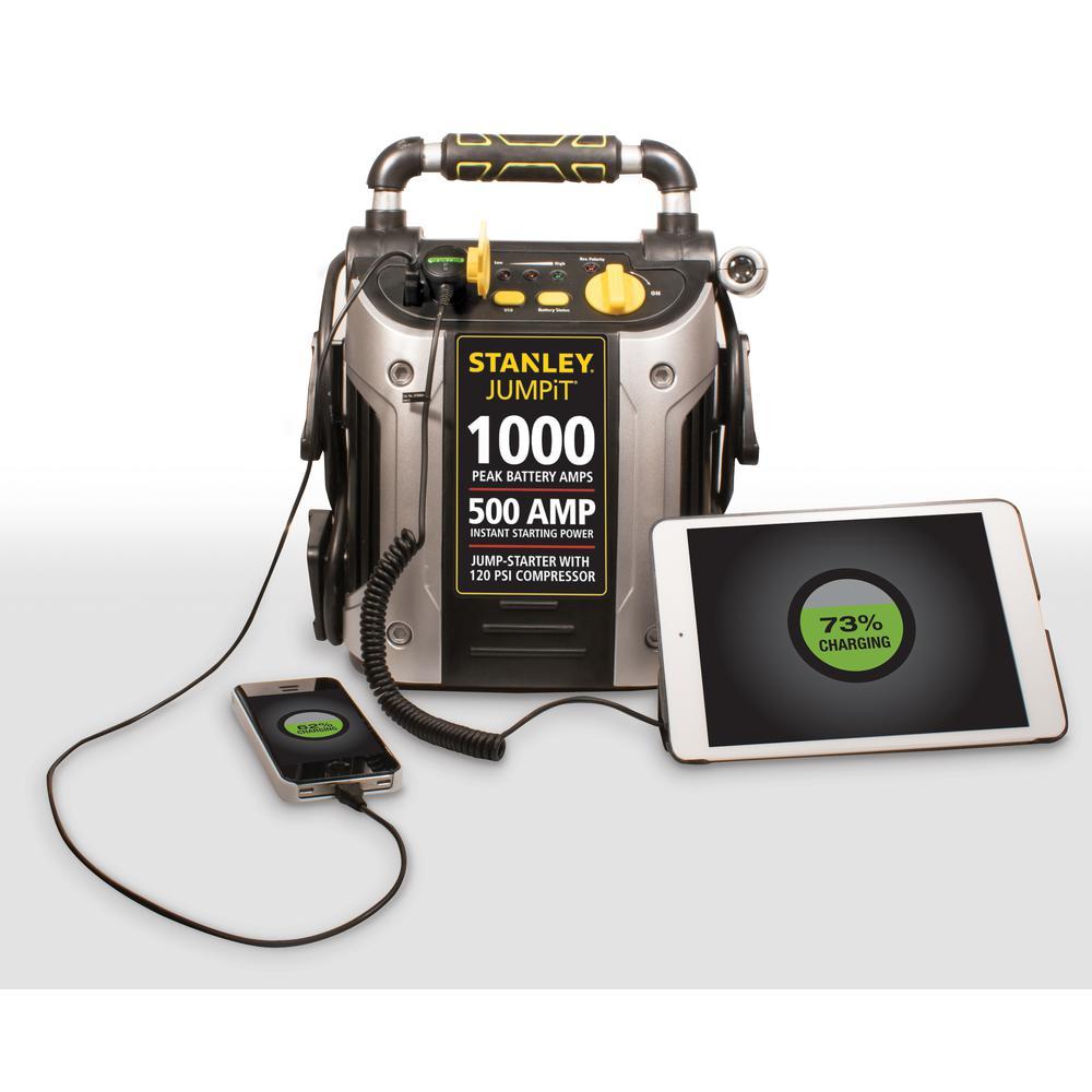 1000 Peak Amp Portable Car Jump Starter with Compressor