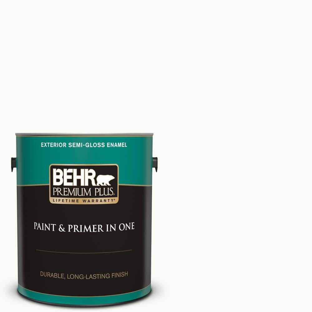 Behr Premium Plus 1 Gal Ultra Pure White Semi Gloss Enamel Exterior Paint And Primer In One 505001 The Home Depot