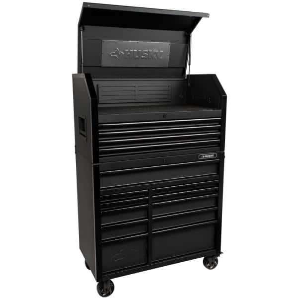 Husky Industrial 41 In W X 21 5 In D 15 Drawer Tool Chest And Cabinet Combo In Matte Black H41ch4tr11hd The Home Depot