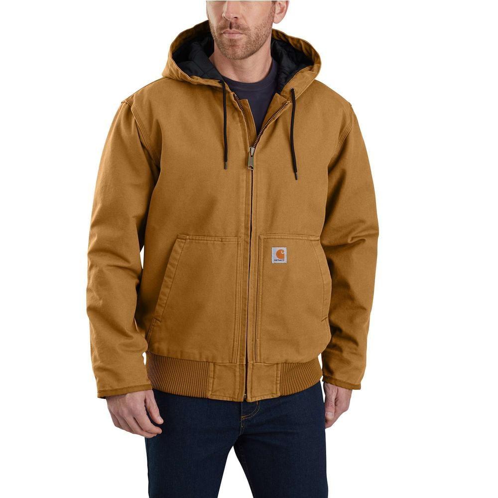 Carhartt Men S Medium Brown Cotton Duck Active Jacket 104050 Brn The Home Depot [ 1000 x 1000 Pixel ]