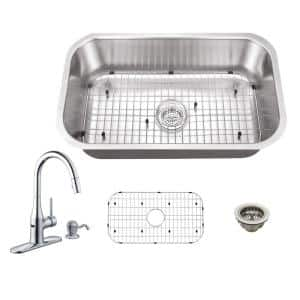 All-in-One Undermount 18-Gauge Stainless Steel 29-3/4 in. 0-Hole Single Bowl Kitchen Sink with Sensor Faucet