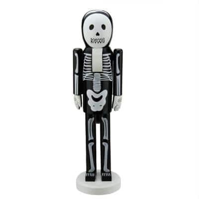 14 in. Black and White Skeleton Wooden Halloween Nutcracker