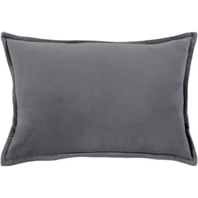 Velizh Charcoal Solid Polyester 19 in. x 19 in. Throw Pillow