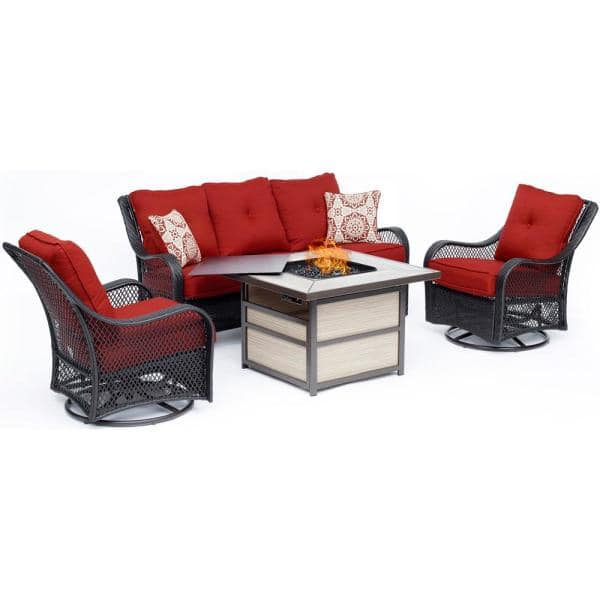 Hanover Orleans 4 Piece Wicker Patio Seating Set With Fire Pit Table Autumn Berry Cushions Orl4pcsqfp Bry The Home Depot