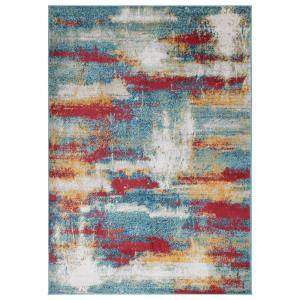 Rixos Collection Multi Color / Orange 5 ft. 3 in. x 7 ft. Distressed Modern Abstract Design Area Rug
