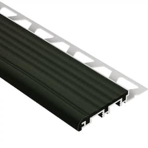 Trep-B Aluminum with Black Insert 3/8 in. x 8 ft. 2-1/2 in. Metal Stair Nose Tile Edging Trim