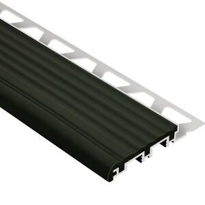 Trep-B Aluminum with Black Insert 5/16 in. x 8 ft. 2-1/2 in. Metal Stair Nose Tile Edging Trim