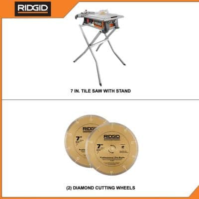 6.5 Amp 7 in. Table Top Wet Tile Saw with Bonus Stand and Blade
