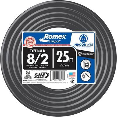 25 ft. 8/2 Stranded Romex SIMpull CU NM-B W/G Wire
