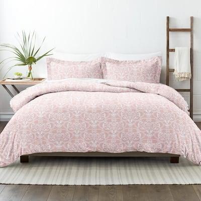 Premium Ultra Soft Pink Romantic Damask Pattern King Microfiber 3-Piece Duvet Cover Set