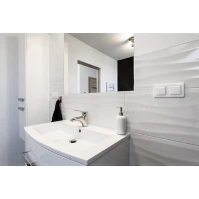 Dymo Wavy White 12 in. x 24 in. Glossy Ceramic Wall Tile (16 sq. ft./case)