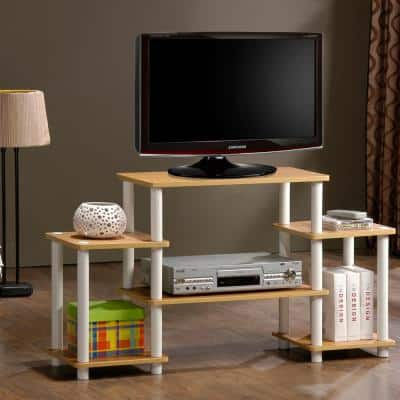 Turn-N-Tube 42 in. Beech Particle Board Entertainment Center Fits TVs Up to 37 in. with Open Storage