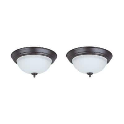 11 in. 15-Watt Bronze Integrated LED Ceiling Flush Mount with Frosted Glass Diffuser (2-Pack)