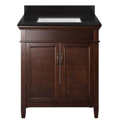 Ashburn 31 in. W x 22 in. D Bath Vanity in Mahogany with Granite Vanity Top in Midnight Black with Trough White Basin