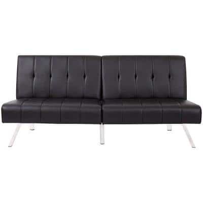 70 in. Armless Faux Leather Straight Tufted Back Convertible Sofa in Black