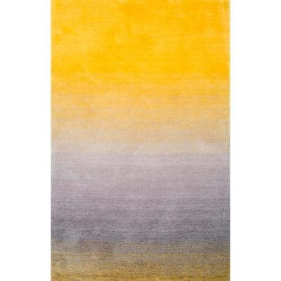 Nuloom Ana Ombre Shag Yellow 8 Ft X 10 Ft Area Rug Hjos01a 8010 The Home Depot