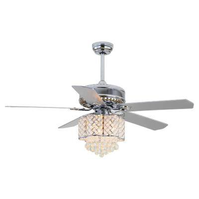 52 in. Indoor Chrome Plywood Metal LED Ceiling Fan with AC Motor and Crystal Light