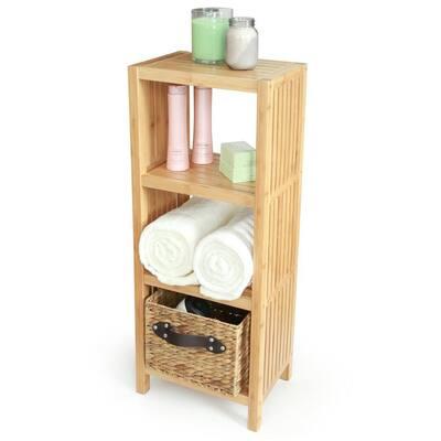 Deluxe 14 in. x 10 in. x 34 in. Freestanding Bathroom Organizing 4-Tier Shelf in Bamboo
