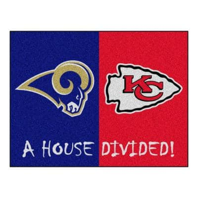 NFL Rams/Chiefs Navy House Divided 3 ft. x 4 ft. Area Rug