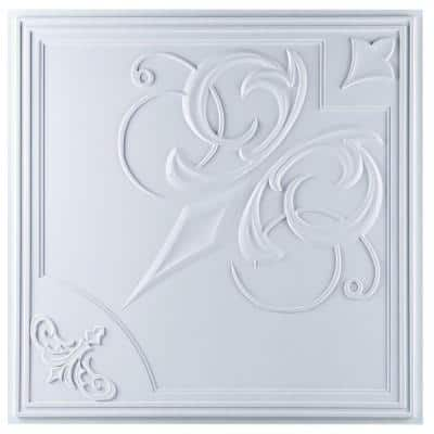 Risano 2 ft. x 2 ft. Lay-in or Glue-up Ceiling Tile in White (40 sq. ft. / case)