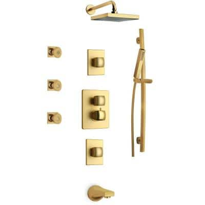 Lady Shower Combo 8 in. in Satin Gold