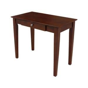 36 in. Rectangular Espresso 1 Drawer Writing Desk with Solid Wood Material