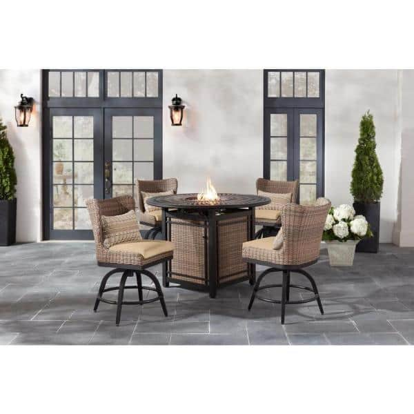 Home Decorators Collection Hazelhurst 5 Piece Brown Wicker Outdoor Patio High Dining Fire Pit Seating Set With Sunbrella Beige Tan Cushions Fm19 Hd50 B Bei The Depot