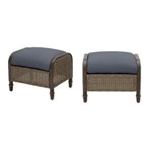 Windsor Brown Wicker Outdoor Patio Ottoman with CushionGuard Sky Blue Cushions (2-Pack)